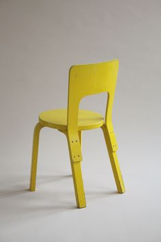 Yellow-painted Alvar Aalto dining chair 66