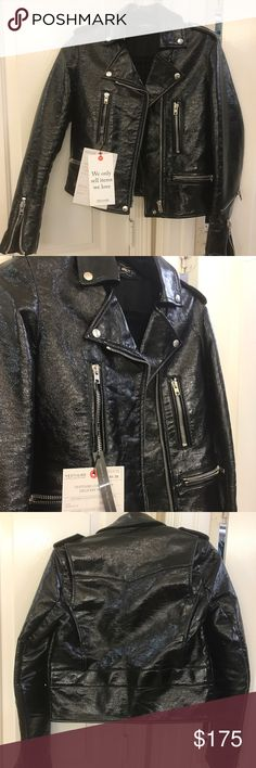 April 77 patent leather Moto jacket small Size small - purchased from Vestiaire Collective a high end resell app (like Poshmark but for only high end clothing) and unfortunately it doesn't fit me. Comes from Paris, France and it almost new condition. Totally on trend right now and jackets like this go for much more than I'm listing at. Still had authentication tags from Vestiaire attached. (((Listing as REFORMATION for exposure))) Reformation Jackets & Coats