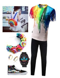 """""""Pride Outfit Ideas -Trin"""" by trinityandnikita on Polyvore featuring Replay, Vans and adidas"""