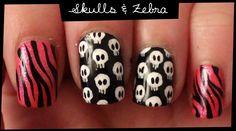 Skulls & Zebra nail art