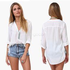 2015 Summer Plus Size M-6XL Female Model Casual Long Sleeve V-neck Chiffon Womens Blouses Ladies Office Shirts Camisete Feminina