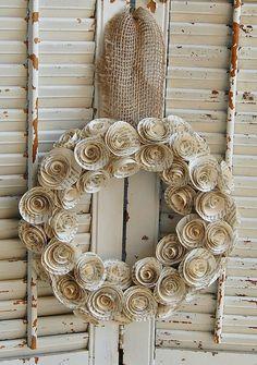Vintage Book Paper Wreath / Romantic Rustic Wedding Wreath