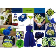 Lime Green and colbolt blue wedding, created by tweeterj on Polyvore
