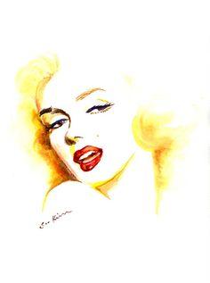Marilyn Monroe Watercolor Print 9x12 by sookimstudio on Etsy, $20.00