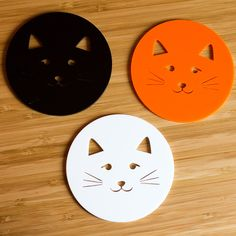 Kitty Coasters - Pack of four kitty face coasters available in a variety of cat based colours. Perfect for the home of a crazy cat lady, they're sure to add a stylish feel to any coffee table. They're laser cut from 3mm thick perspex, so they're very easy to clean - just use a damp cloth! Each coaster measures 95mm in diameter.