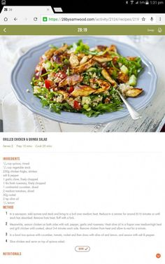 Healthy diet recipes · chicken & quinoa salad michelle bridges 28 by sam wood, clean eating plans Healthy Eating Recipes, Clean Eating Recipes, Veggie Recipes, Healthy Meals, Healthy Food, Yummy Recipes, Free Recipes, 28 By Sam Wood, Chicken Quinoa Salad