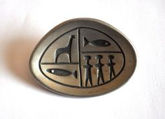 1960s Rune Tennesmed Pewter Brooch Signed by SpitefulAntiquarians