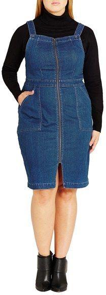 52f76844d63 Plus Size Women s City Chic Denim Front Zip Pinafore Dress Fat Girl  Outfits