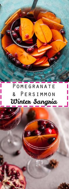 Pomegranate and persimmon winter sangria is a refreshing punch that is sure to be a big hit at your holiday party!