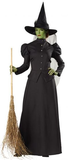 Witch 2Pc Black Victorian Style Top /& Skirt Oz Classic Movie Character Costume