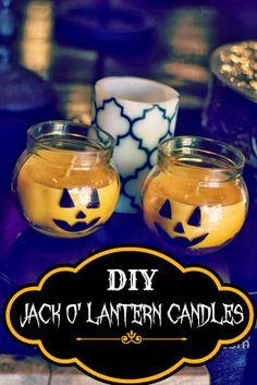 THE RUSTIC REDHEAD: Jack O' Lantern Candles....Easy as Pumpkin Pie!!   ☀CQ #halloween #pumpkin #jackolantern #crafts #DIY