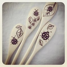 Special order #woodburned spoons for someone who likes #ladybugs. #pyrography…