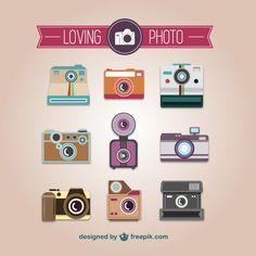 ヴィンテージカメラベクトルの写真コレクション 無料ベクター