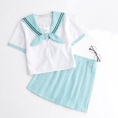 Kawaii Mint Sailor Collar Short Top Skirt Set SP178857