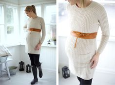 Long Sweater dress and belt, maternity style.
