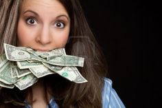 Woman eating money - Sarah all for me