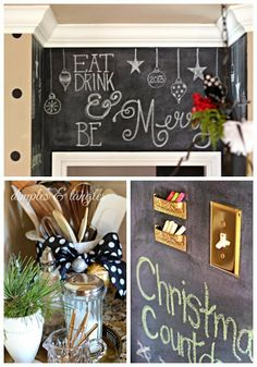 Christmas chalkboard wall Eat drink and be merry Christmas Kitchen