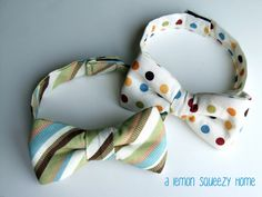 velcro bow ties... you think i could get hudson to wear these? I just might have to try...