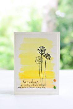 Watercolor Thank YouCard / Handmade Card / Card   http://creativehandmadecollections.blogspot.com