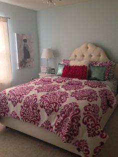 Ikat bedding, upholstered headboard, teen bedroom, girls room, skyline bed. Designed by Downs Interiors LLC