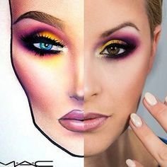 face chart and real face Makeup Inspo, Makeup Tips, Beauty Makeup, Drugstore Beauty, Photographic Makeup, Mac Face Charts, Jaclyn Hill Eyeshadow Palette, Makeup Face Charts, Learn Makeup