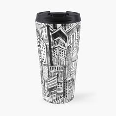 'Black and White Painterly city escape abstract' Travel Mug by Mimipinto Gifts For Your Boyfriend, Tech Gifts, Canvas Prints, Art Prints, Cool Gadgets, Travel Mug, My Arts, Gift Ideas, Mugs