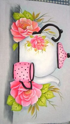Pintura pi p One Stroke Painting, Tole Painting, Fabric Painting, Painting & Drawing, Pintura Tole, Painted Rocks, Hand Painted, Image Deco, Decoupage Paper