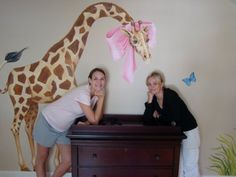 My client Jessica and my artist who painted our ideas to create this nursery
