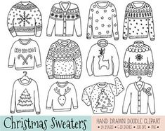 Ugly Christmas Sweater Clipart. Hand Drawn Tacky Christmas Jumper, Reindeer, Snowflake, Star Doodle Clip Art. Winter Clothing Illustrations.