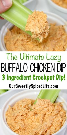 BEST Lazy Crockpot Buffalo Chicken Dip! Prep a perfect game day dip or party appetizer: 3 ingredients & 5 minutes! Then let the slow cooker work! With hot sauce, chicken breasts, & greek yogurt, this easy buffalo chicken recipe is a spicy, tasty, healthy snack (clean eating & diet friendly-keto too). Eat as a light healthy lunch! Serve with celery for a low carb skinny dip! Great for a crowd! #buffalochickendip #slowcooker #spicy #dips #healthysnacks #healthyrecipes #cleaneating #keto…