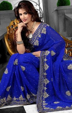 #RoyalBlue Faux #Georgette #Saree with Blouse | @ $189.62