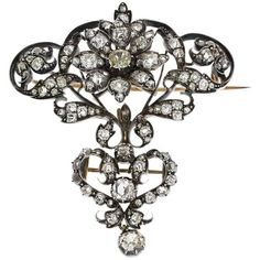 Preowned Great Victorian Two-piece Diamond Silver Gold Brooch ($22,000) ❤ liked on Polyvore featuring jewelry, brooches, multiple, red jewelry, gold and silver jewelry, red brooch, diamond jewelry and victorian brooch