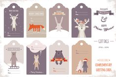 Cute Holiday Gift Tags by jennylipets on Creative Market