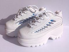 0d26e266e737e Details about Vintage Unique 1980s Soda Platform White Tm Sneakers Tennis  Shoes NEW