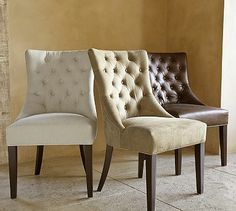 Hayes Tufted Upholstered Side Chair, Leather Cracked Walnut - Upholstered Dining Chairs - Leather Dining Chairs - Pottery Barn - Home Designs 2017 Tufted Dining Chairs, Leather Dining Room Chairs, Fabric Dining Chairs, Tufted Chair, Kitchen Chairs, Room Kitchen, Kitchen Dining, Dining Table, Furniture Upholstery