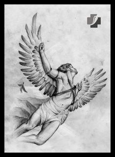 pencil drawing by Doctor Pepper Angel Drawing, Body Drawing, Harry Tattoos, Body Art Tattoos, Tatuagem Icarus, Icarus Tattoo, Greek God Tattoo, Fallen Angel Tattoo, Christ Tattoo