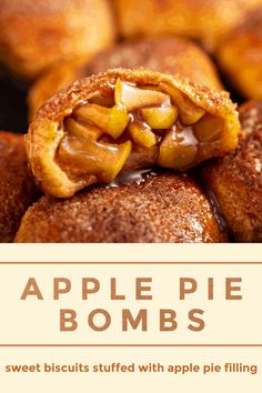 These easy Apple Pie Bombs are canned biscuits stuffed with apple pie filling, baked with a sweet cinnamon sugar topping and served warm with vanilla ice cream! #ApplePieBombs #Apple #ApplePie #AppleBombs #Dessert #Recipe #AppleRecipes #FallRecipes
