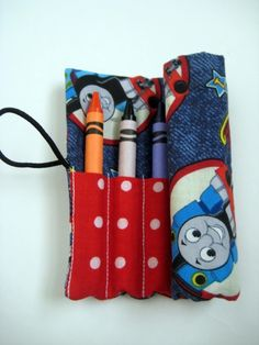 Crayon Roll Thomas the Tank Engine Includes 8 by adorableblessings