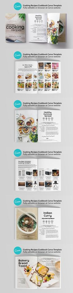 Cooking Cookbook Canva Template / 24 Pages. Compatible with: Adobe Photoshop. File Size: 1.05 MB. Vector. Layered. Tileable. Page Table, Editorial Page, Cookbook Template, Table Of Contents Page, Sample Recipe, Iconic Photos, File Size, Templates, Adobe Photoshop