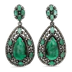 Bavna Sterling Silver emerald Earrings ($4,899) ❤ liked on Polyvore featuring jewelry, earrings, emerald, emerald jewellery, sparkly earrings, sterling silver jewelry, sparkle jewelry and emerald jewelry