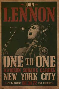 Come Together with thisgreat John Lennon poster forthe classic show at New York's Madison Square Garden in August of 1972! Fully licensed.Ships fast. 24x36 i