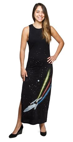 This is dreadful.  I sort of love it.  With tank-top styling, this black, blended jersey (50/50 cotton/polyester) maxi dress has a slit on the right side and the Enterprise printed across the front.