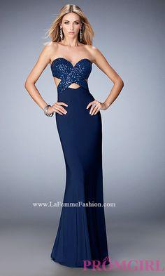 Long Open Back La Femme Sweetheart Dress LF-22150