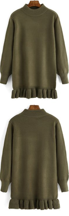 I really really need one long sweater warm enough for these cold days ! This green sweater dress is featured in mock neck and ruffle hem ,so cute & stylish !
