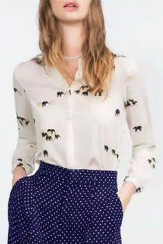 Elephant Print Shirt Collar Long Sleeves Shirt