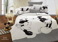 Happy Minnie & Mickey Mouse Comforter Sets Duvet Covers Set in Full/Queen 5PCS,Cotton,White & Black by bedding