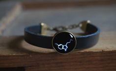 Serotonin bracelet Serotonin molecules leather by ShoShanaArt