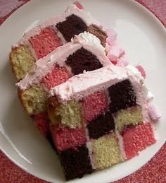 checkerboard cake  *I used the Pampered Chef pan to make this.  It turned out really cute!