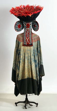 Africa | Kuosi Society ensemble from the Bamileke people of Cameroon | Fabric, glass beads, parrot feathers