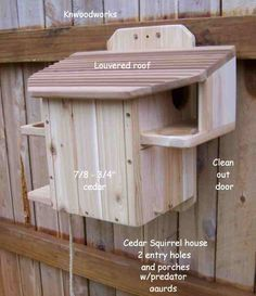 2 entry squirrel house we just ordered 2 of these for the baby squirrels my mither in law rescued and we released in our yard:)